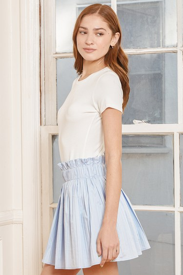 Can't Forget You Light Blue Pleated Mini Skirt