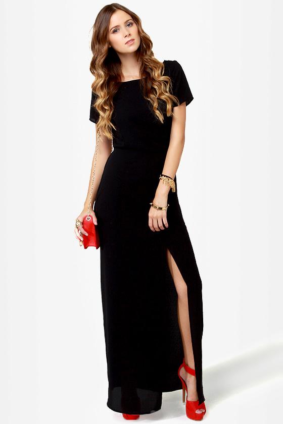 Basic Maxi Dress - Black Dress - Backless Dress - $48.00