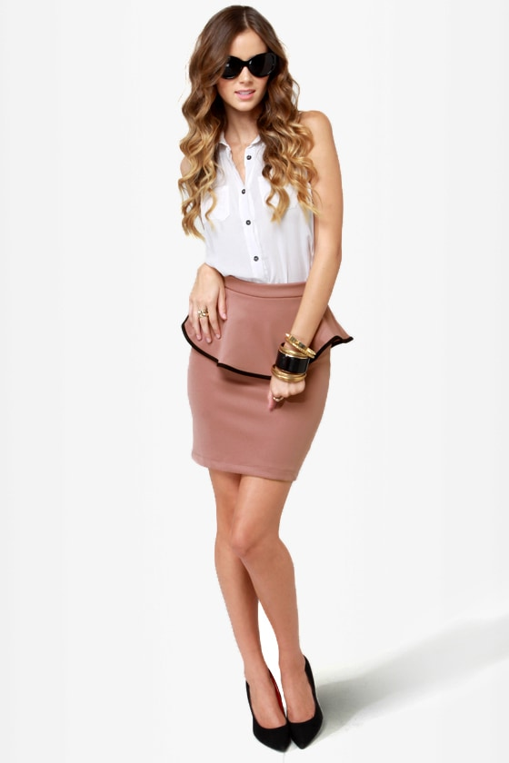 Quarterly Report Mauve Peplum Skirt at Lulus.com!