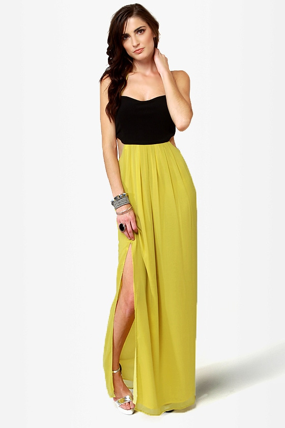 Black-Eyed Susan Black and Chartreuse Maxi Dress