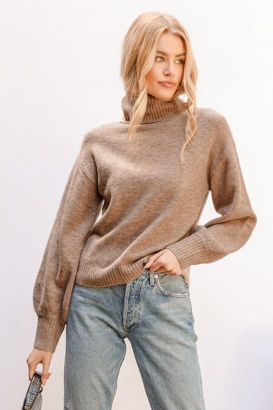 Warm Endearments Heather Beige Turtleneck Sweater | Lulus