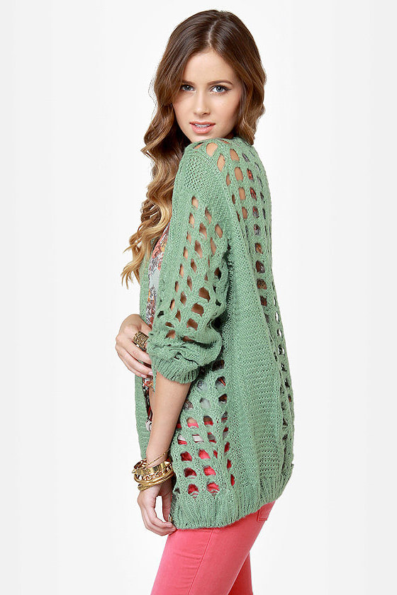 Waffle Stack Sage Green Cardigan Sweater at Lulus.com!
