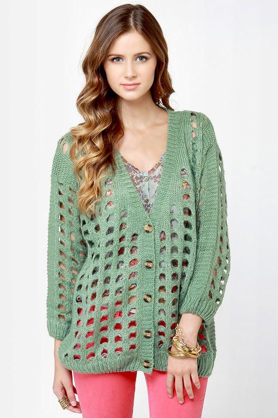 Waffle Stack Sage Green Cardigan Sweater
