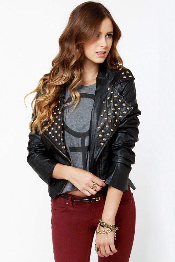 Moto Maven Studded Black Vegan Leather Jacket
