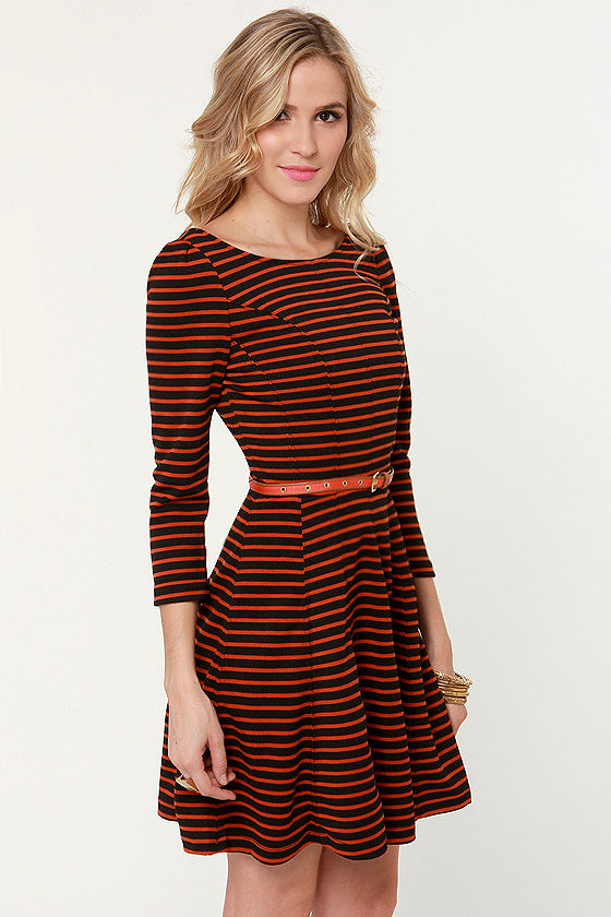 You Autumn Know Orange and Black Striped Dress at Lulus.com!
