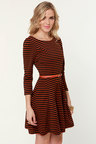 You Autumn Know Orange And Black Striped Dress 76 Fashion At