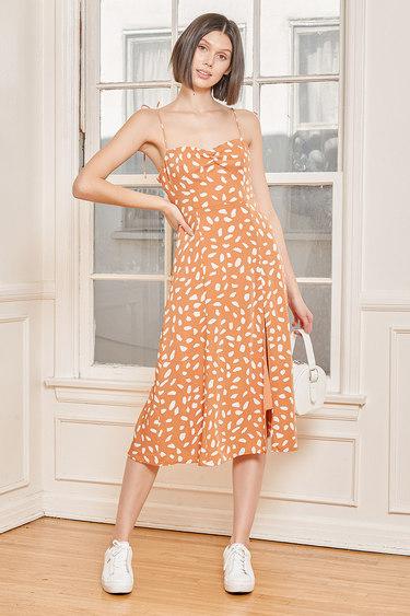 Party in Paris Light Orange Print Tie-Strap Midi Dress