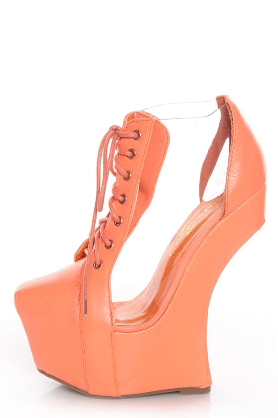 Privileged Jovana Coral Cutout Lace-Up Heelless Platforms