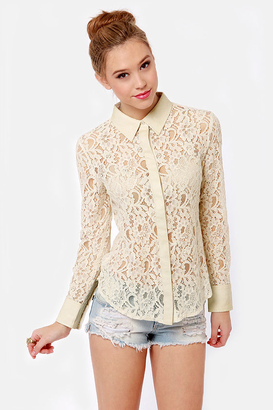 460fcb909 Cute Cream Top - Lace Top - Button-Up Top - $58.00