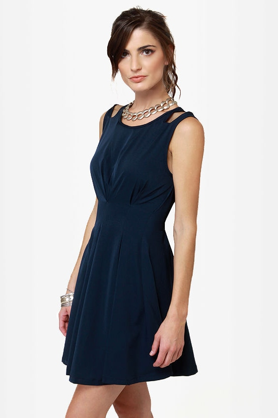 Putting on Flares Navy Blue Dress