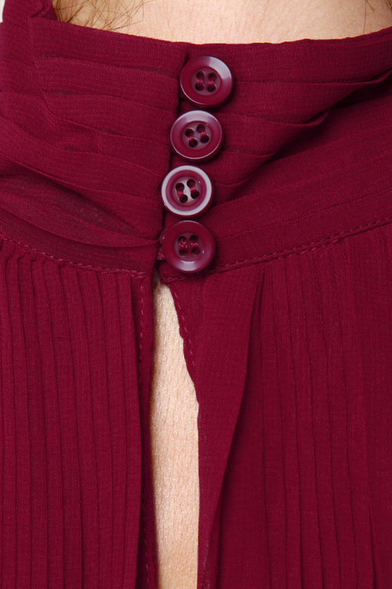 Pleats Be Advised Burgundy Dress