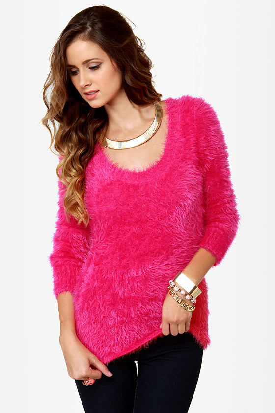 What a Softie Fuzzy Hot Pink Sweater