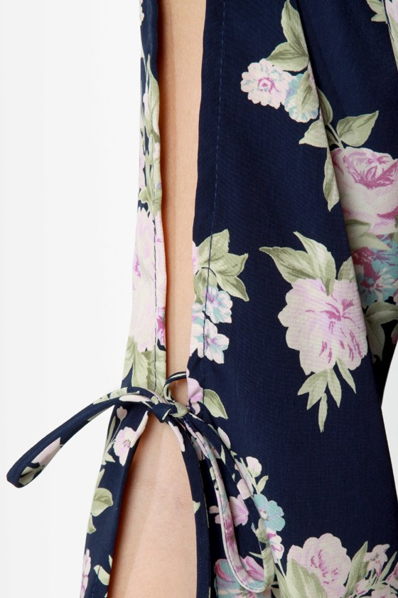 Hit the Floral Navy Blue Floral Print Dress