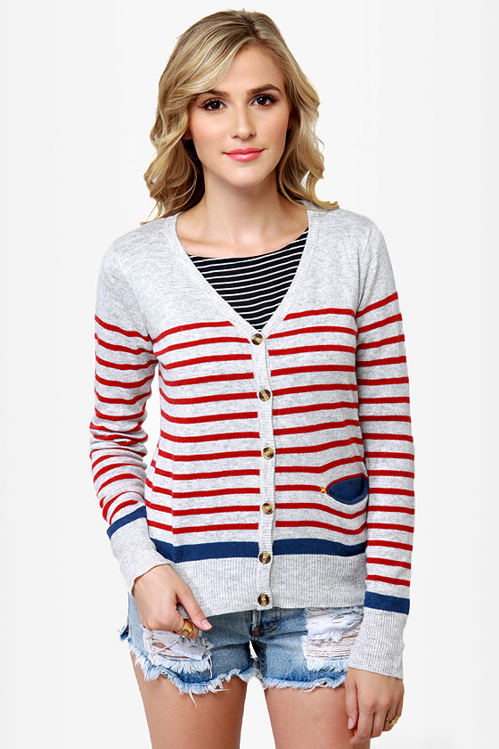 Essay Contest Grey Striped Cardigan Sweater