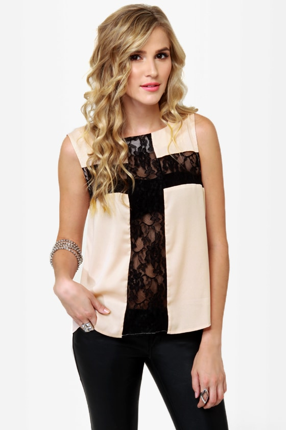 Cross Your Tees Beige Lace Top