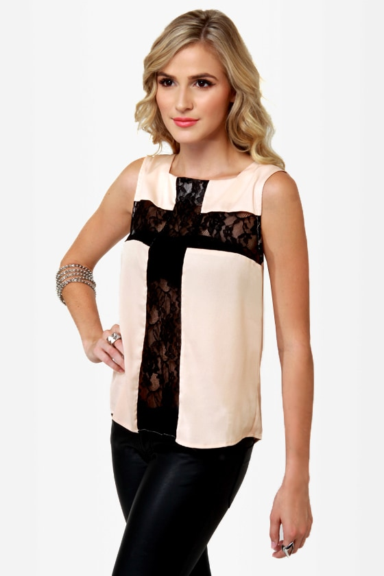 Cross Your Tees Beige Lace Top at Lulus.com!