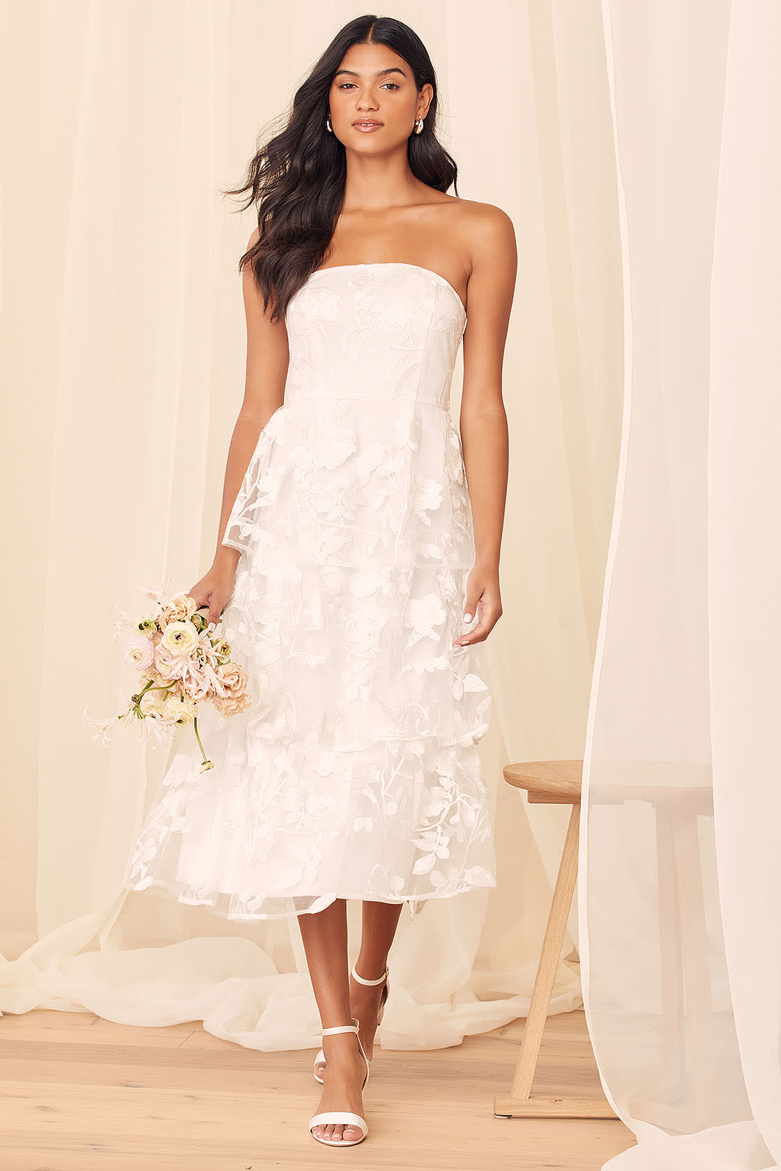 Loving With You White Embroidered Tiered Strapless Midi Dress