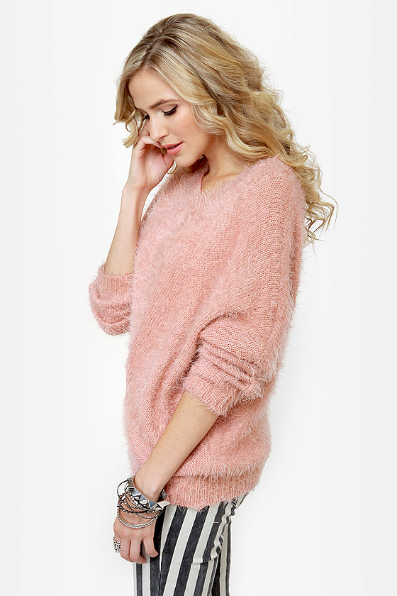 Cozy Rosy Fuzzy Pink Sweater at Lulus.com!