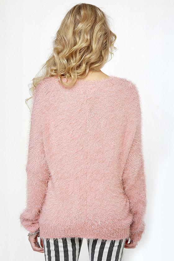 Cozy Rosy Fuzzy Pink Sweater