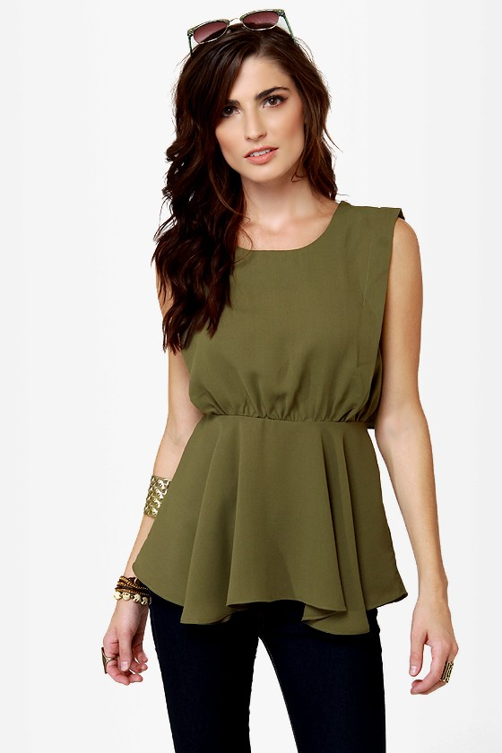 Swoop Ba-Doop Olive Green Top at Lulus.com!