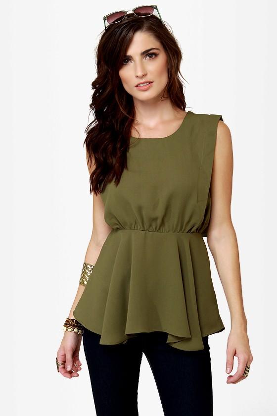 f98d5506f6e2b0 Cute Olive Green Top - Sleeveless Top - Peplum Top -  38.00