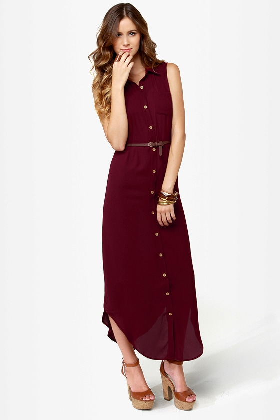Shirt-ley Temple Button-Up Burgundy Maxi Dress at Lulus.com!