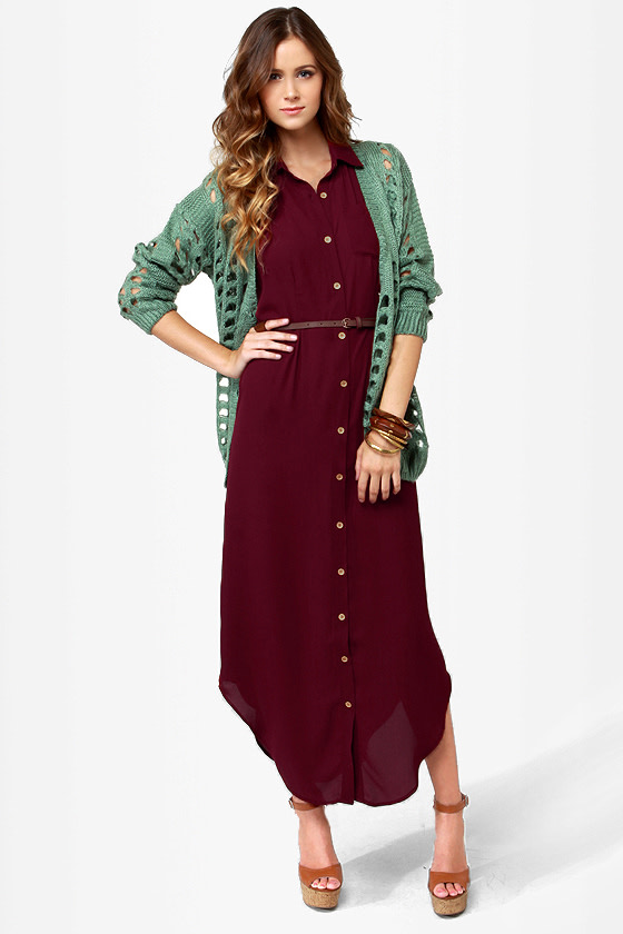 Shirt-ley Temple Button-Up Burgundy Maxi Dress