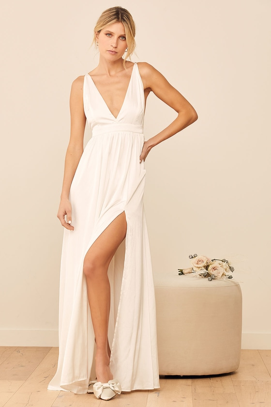 This is Real Love White Satin Maxi Dress Lulus