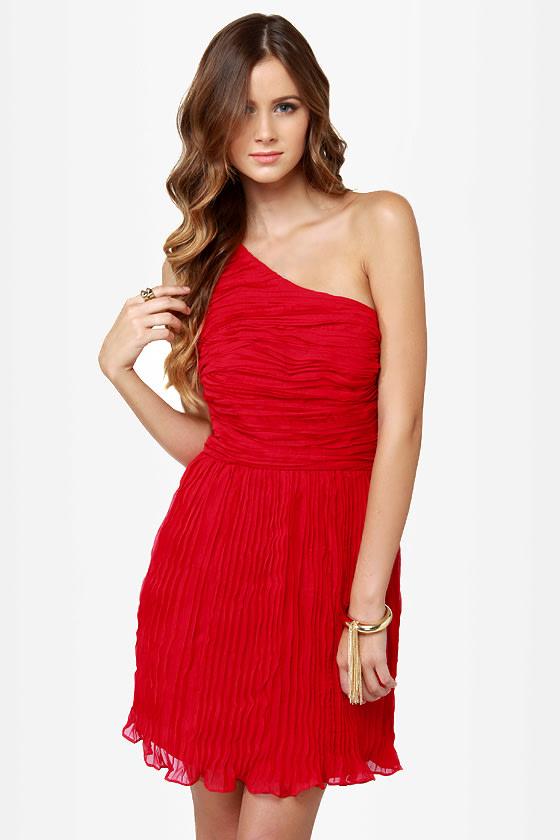 BB Dakota Lewiston Dress - One Shoulder Dress - Ruched Dress - Red ...