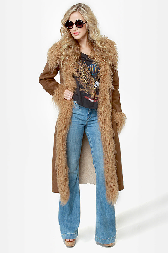 BB Dakota Blinda Coat - Brown Coat - Vegan Suede Coat - Faux Fur