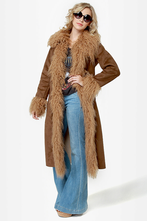 BB Dakota Blinda Brown Faux Fur Trim Coat at Lulus.com!