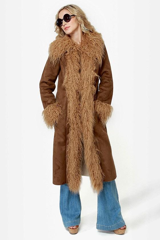 BB Dakota Blinda Brown Faux Fur Trim Coat