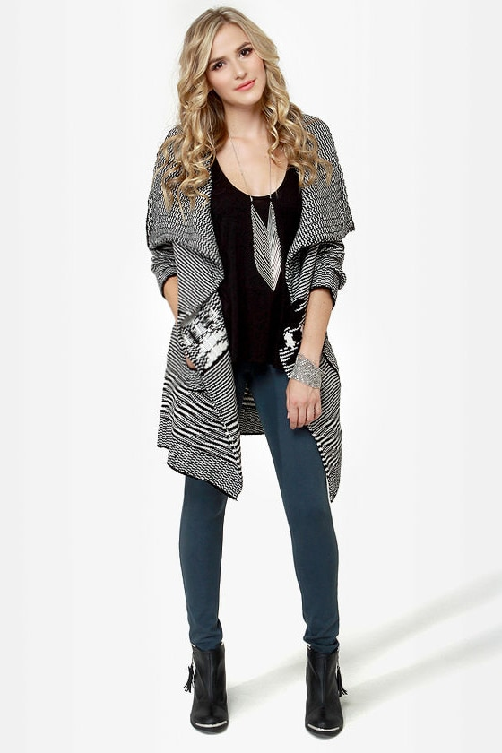 Wish Me Well Black and Ivory Wrap Sweater