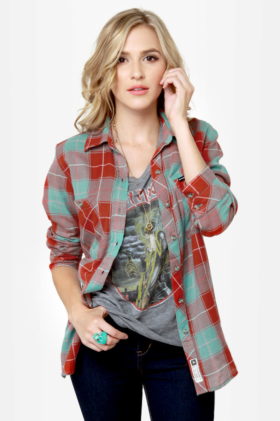 Hurley Wilson Turquoise and Red Flannel Plaid Top