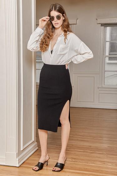 Favorite Season Black Ribbed Midi Skirt