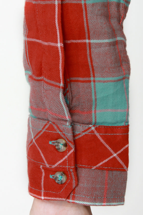 Hurley Wilson Turquoise and Red Flannel Plaid Top at Lulus.com!