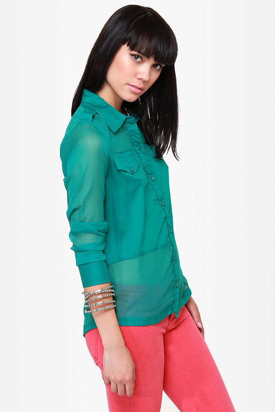 Hurley Cat's Eye Teal Button-Up Top at Lulus.com!