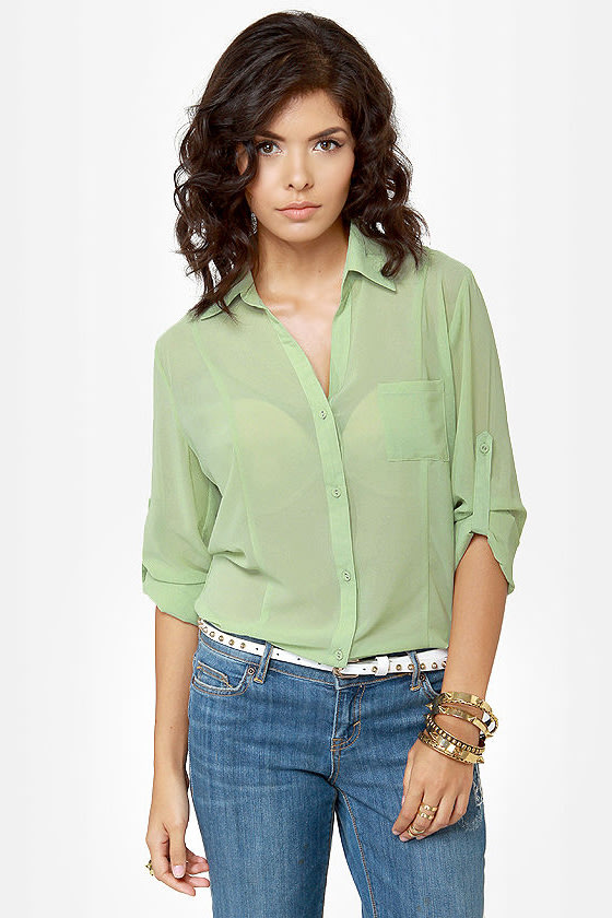 Rein-Vent Yourself Mint Green Cutout Top