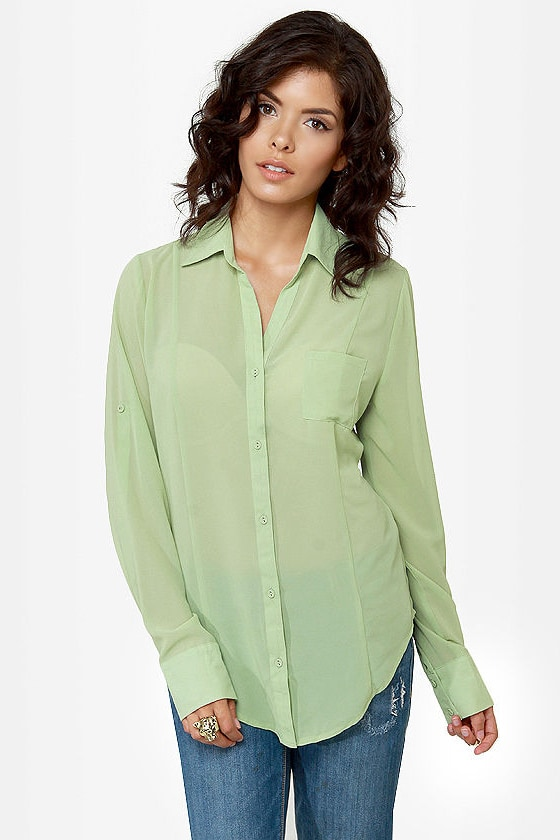 Rein-Vent Yourself Mint Green Cutout Top at Lulus.com!