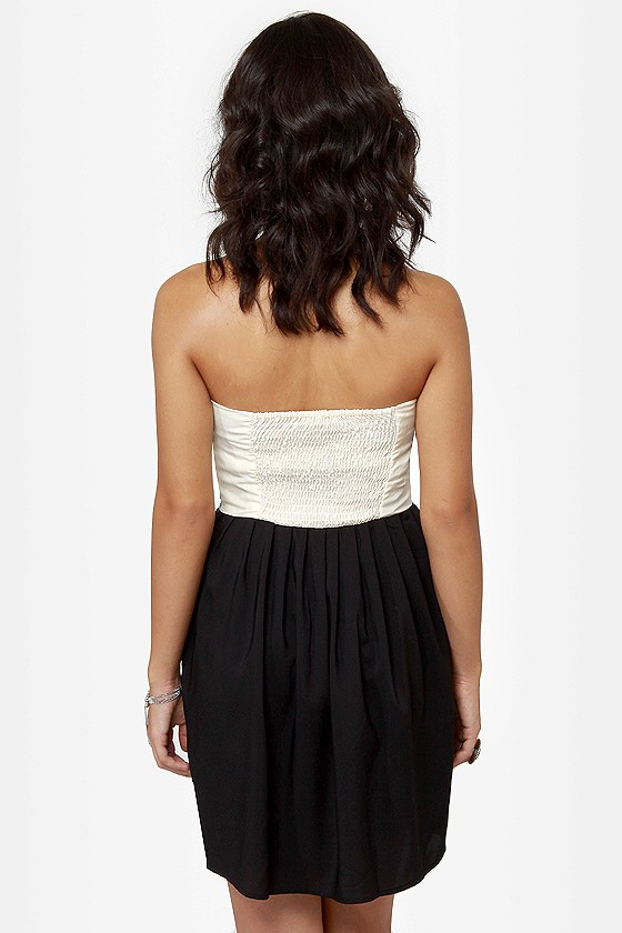 Sound the Alarm Black and Cream Strapless Dress