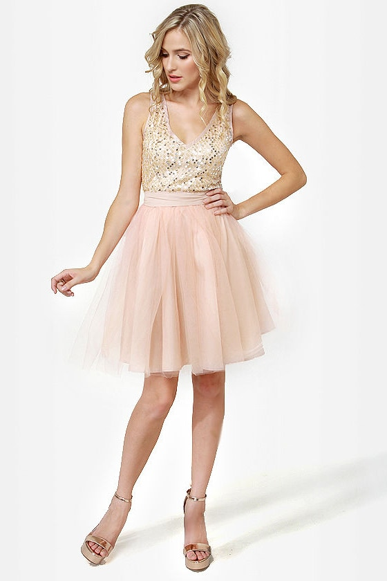 Pretty Blush Dress - Tulle Dress - Sequin Dress - Pink Dress - $50.00