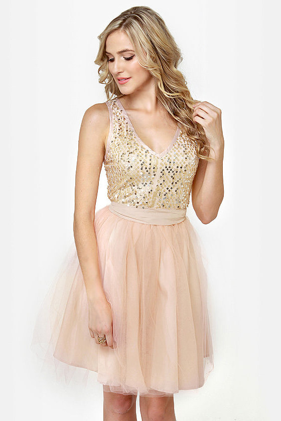 Ballet it on Me Blush Sequin Dress
