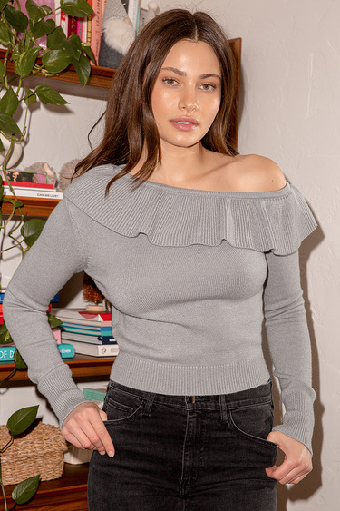 Forever Adorable Light Grey Ruffled Off-the-Shoulder Sweater