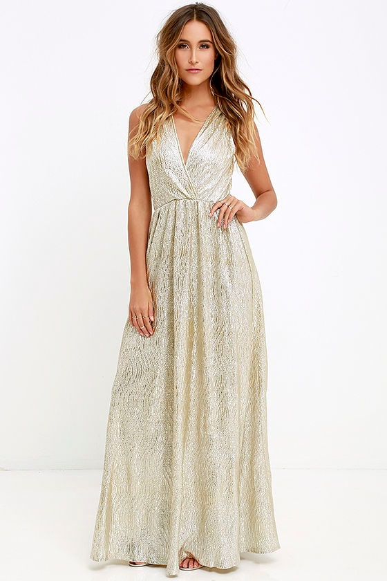 Pretty Gold Dress - Maxi Dress - Metallic Dress - Gilver Dress ...