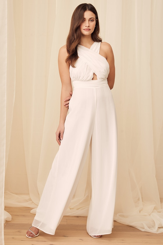 Lulus | Forever Is Here White Halter Jumpsuit | Size Small | 100% Polyester