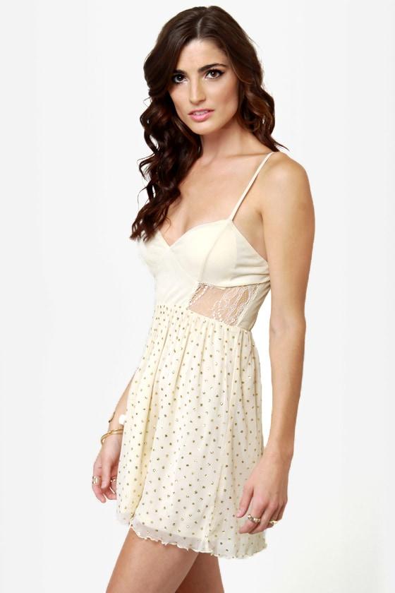 Lost Violet Cream Glitter Lace Dress