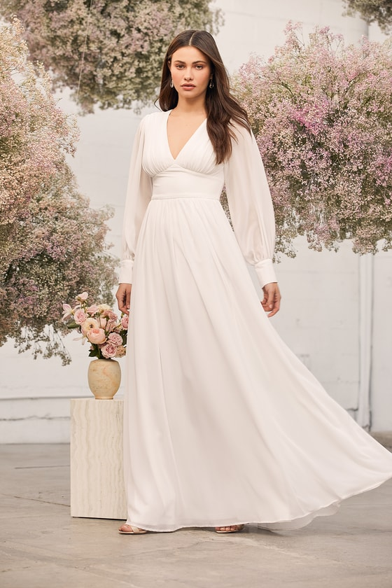 Give You My Heart White Long Sleeve Maxi Dress