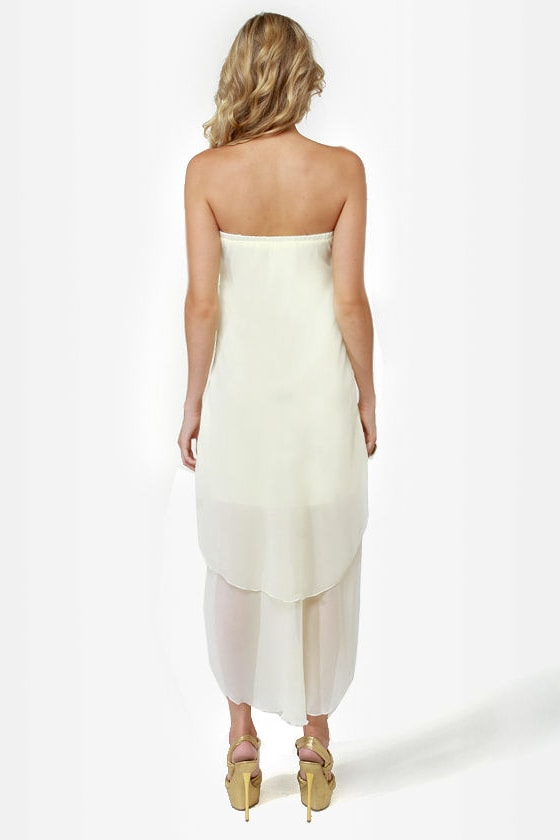 All About V Ivory High-Low Strapless Dress