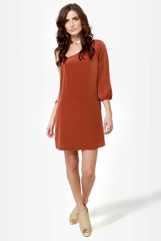 cute one shoulder dress - burnt orange dress - shift dress