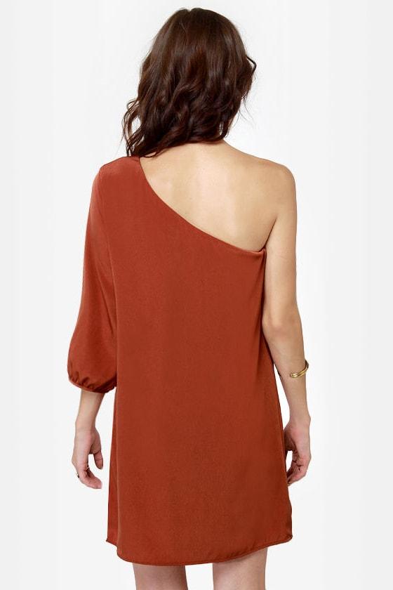 C\\\'mon Get Happy One Shoulder Burnt Orange Dress